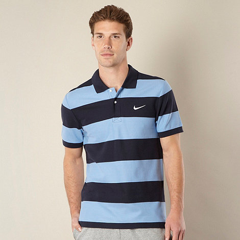 Nike - Blue striped pique polo shirt