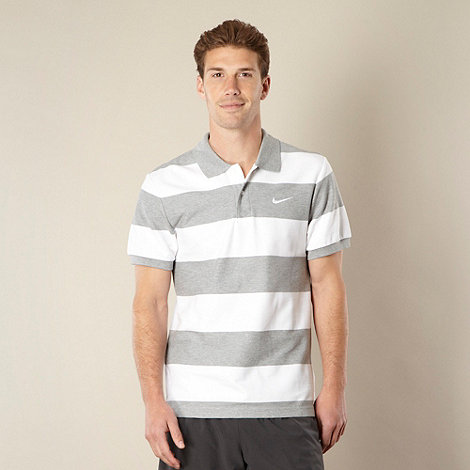 Nike - White striped pique polo shirt