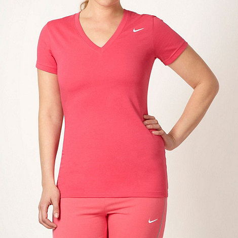 Nike - Pink slim fitting V neck t-shirt