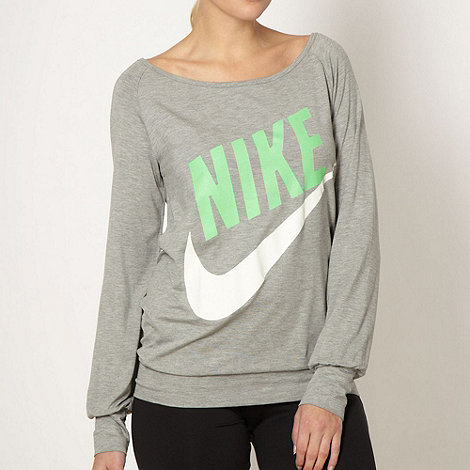 Nike - Grey oversized logo printed top