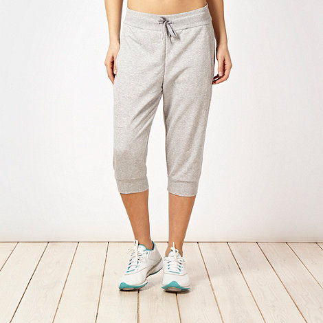 Reebok - Grey French ribbed cropped jogging bottoms
