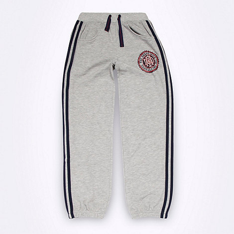 adidas - Boy+s grey patch logo jogging bottoms