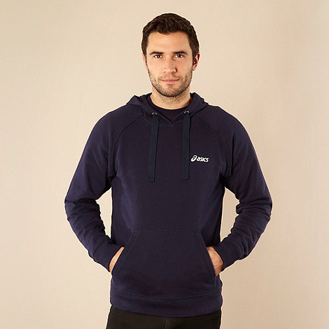 ASICS - Navy branded sweat hoodie