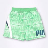 Boy's green logo tile patterned board shorts