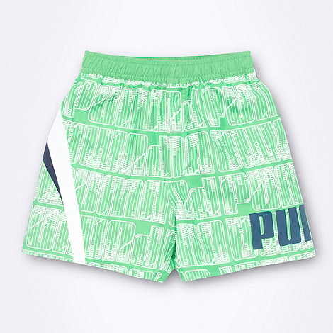 Puma - Boy+s green logo tile patterned board shorts
