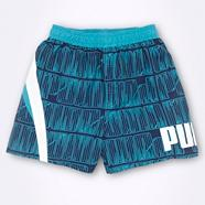 Boy's turquoise logo tile patterned board shorts