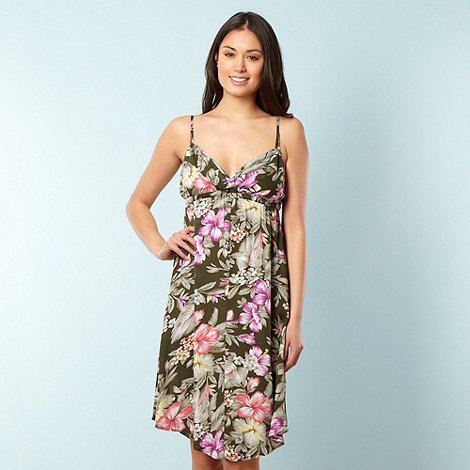 O'Neill - Green tropical floral beach dress