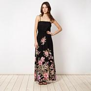 Black tropical flower maxi dress