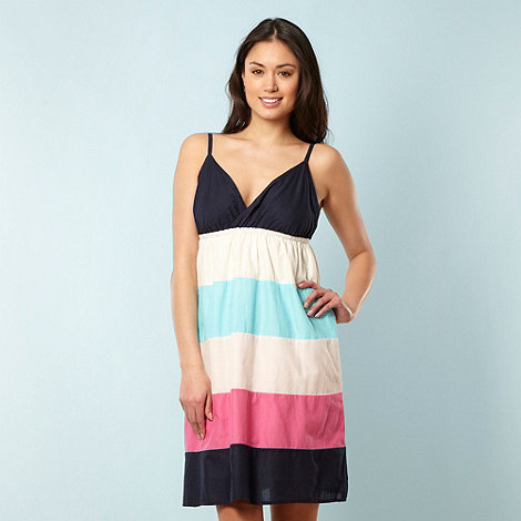 Animal - Navy woven block striped dress