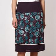 Purple tile printed flared skirt