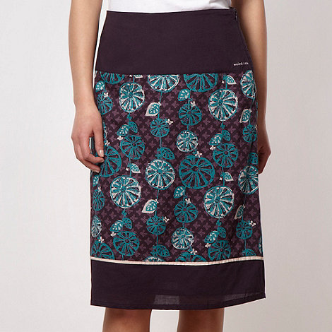 Weird Fish - Purple tile printed flared skirt