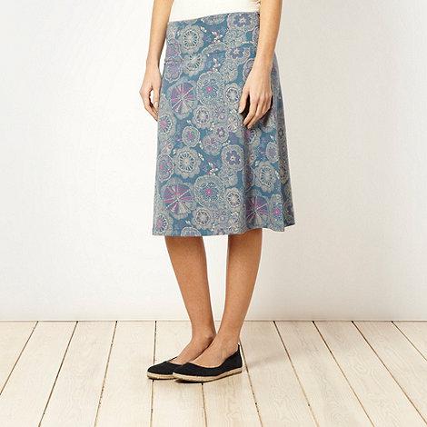 Weird Fish - Blue floral jersey skirt