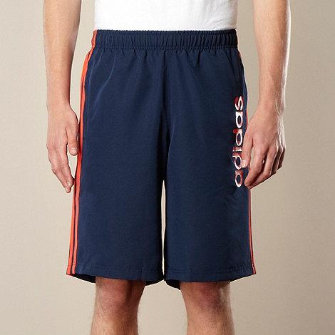 adidas - Navy branded striped shorts