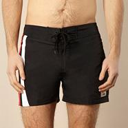 Black double striped board shorts