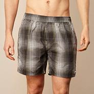 Black woven checked water shorts