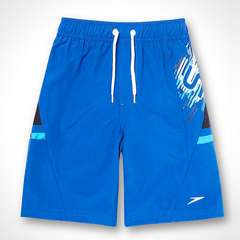Speedo - Boys+ blue striped logo printed board shorts