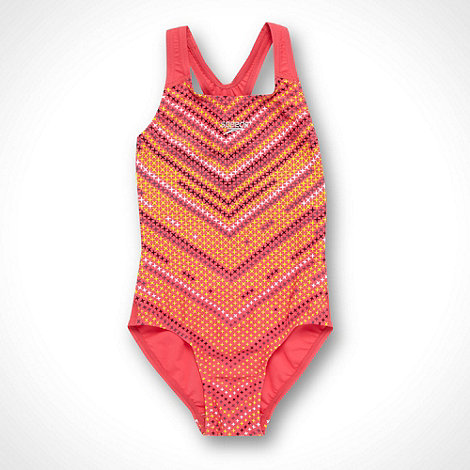 Speedo - Girl+s pink cross patterned swimsuit