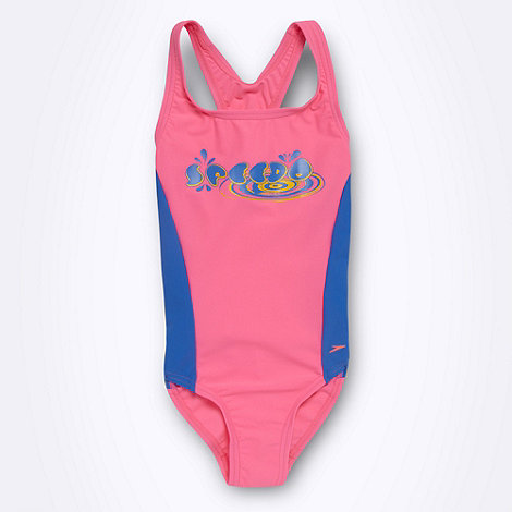 Speedo - Girl+s pink rounded logo print swimsuit