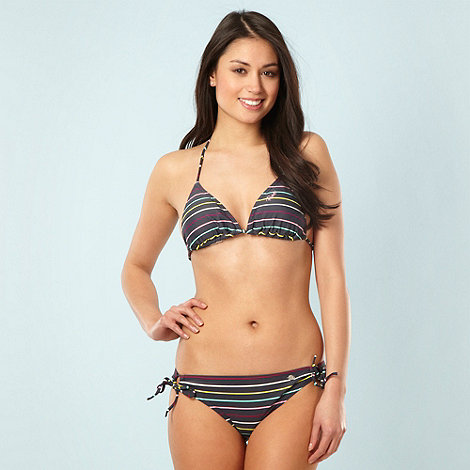 Protest - Dark grey multi striped triangle bikini