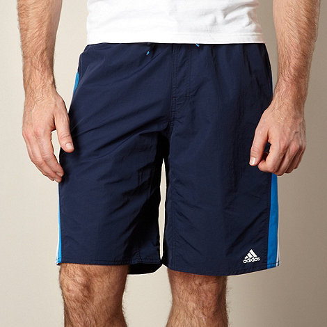 adidas - Navy logo striped swim shorts