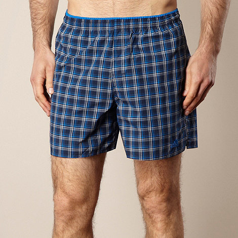 adidas - Blue checked swim shorts