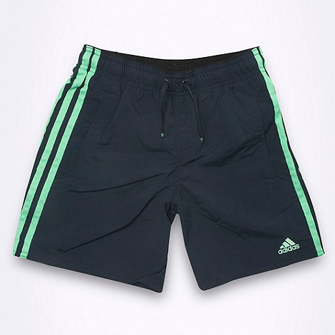 adidas - Boy+s dark grey side striped swim shorts