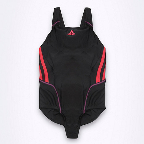 adidas - Girl+s black +Performance+ striped swimsuit