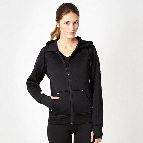 Nike - Black quilted zip through hoodie