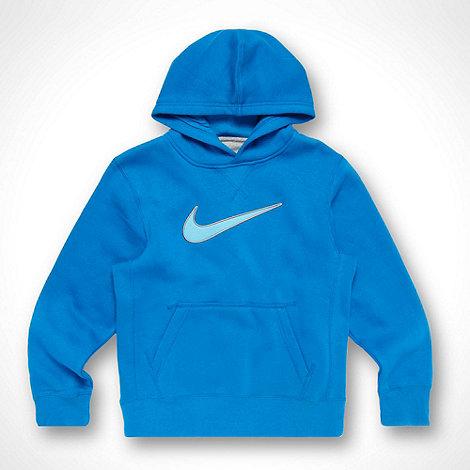 Nike - Boy+s blue appliqued logo hoodie