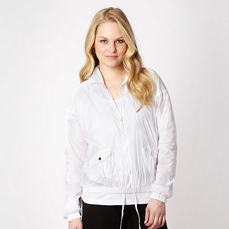 Elle Sport - White cropped lightweight bomber jacket