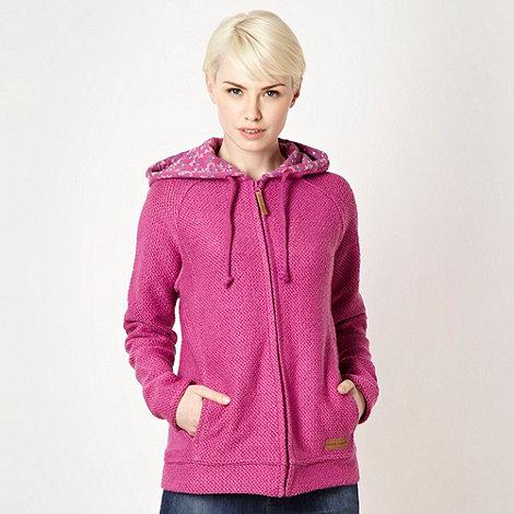 Weird Fish - Dark pink textured zip through hoodie