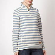 Blue striped textured sweat top