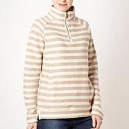 Beige striped textured half zip top
