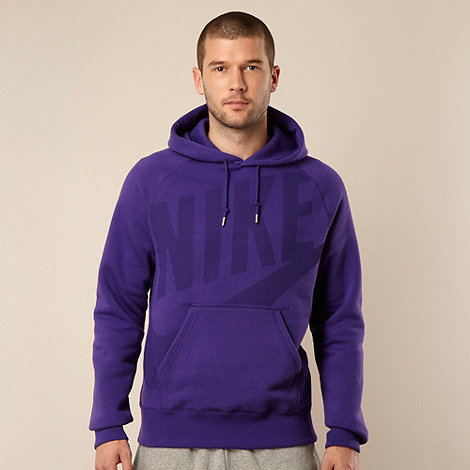 Nike - Purple logo printed pull over hoodie
