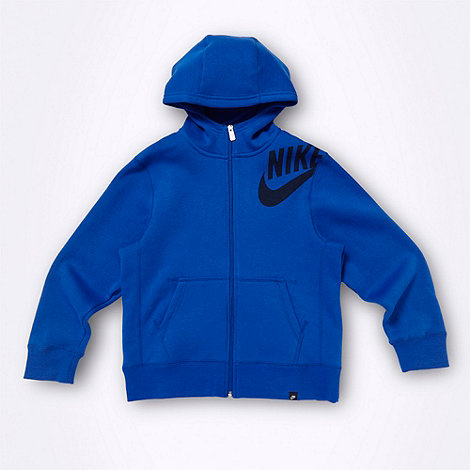 Nike - Boy+s blue logo hoodie