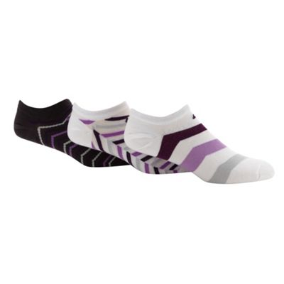 Nike pack of three purple graphic trainer socks