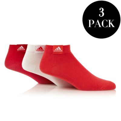 Adidas pack of three pink and white trainer socks