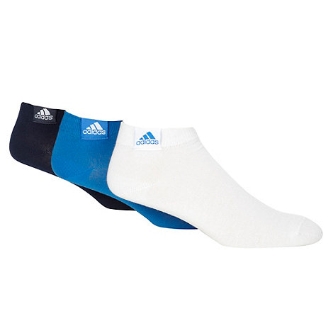 adidas - Pack of three navy blue and white ankle socks