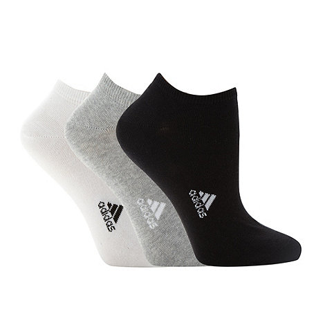 adidas - Pack of three white grey and black trainer socks