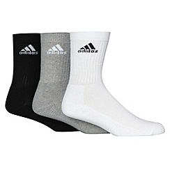 adidas - Pack of three black white and grey sports socks