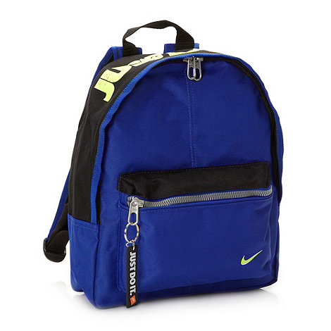 Nike - Boy+s blue logo printed backpack