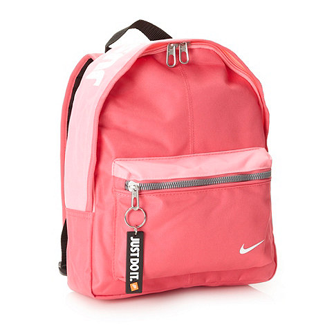 Nike - Girl+s pink logo printed backpack