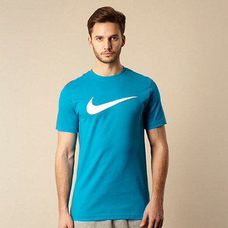 Nike - Blue logo crew neck t-shirt