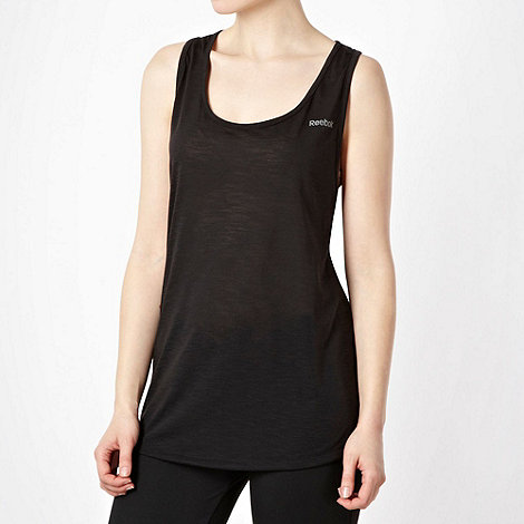 Reebok - Black textured twist back tank top