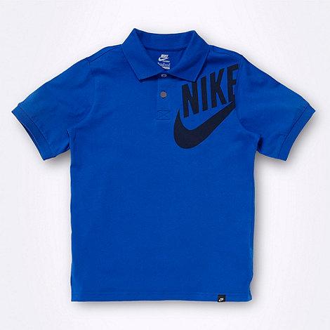 Nike - Boy+s blue logo polo shirt
