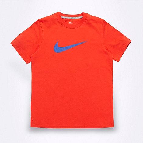 Nike - Boy+s orange textured logo t-shirt