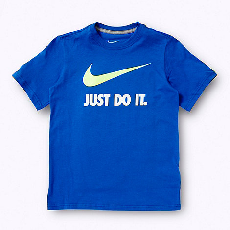 Nike - Boy's blue 'Just Do It' slogan t-shirt