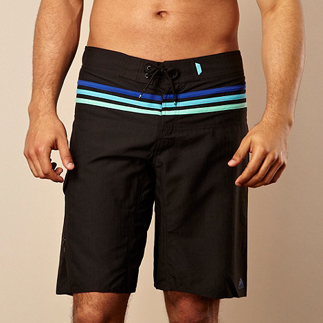 adidas - Black +Iconic+ striped swim shorts
