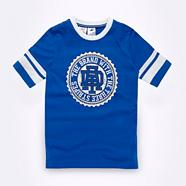 Adidas boy's blue striped logo t-shirt