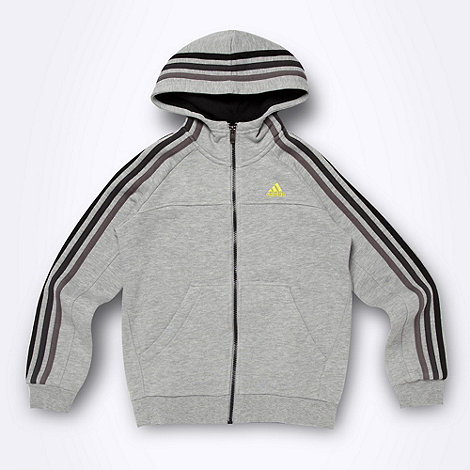 adidas - Boy+s grey zip through hoodie